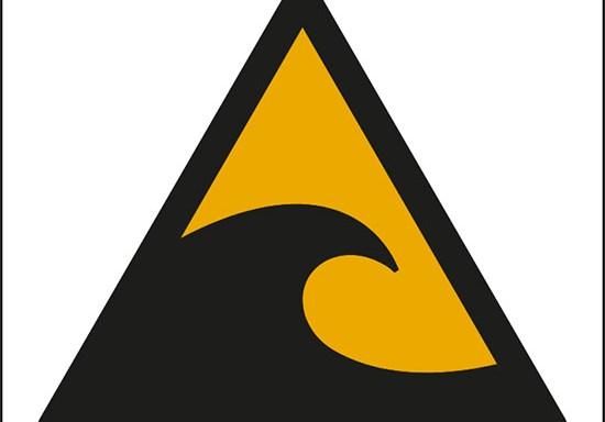 (attenzione; zona pericolo Tsunami – warning; Tsunami hazard zone)