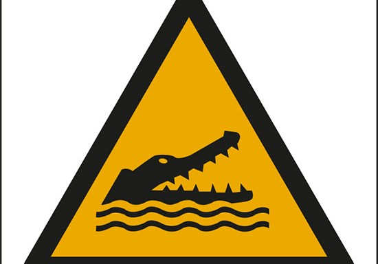 (attenzione; coccodrilli, alligatori o caimani – warning; crocodiles, alligators or caymans)