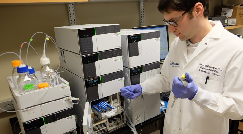 Roman Sukhovershin, MD, PhD, tests an mRNA vaccine at Houston Methodist Research Institute