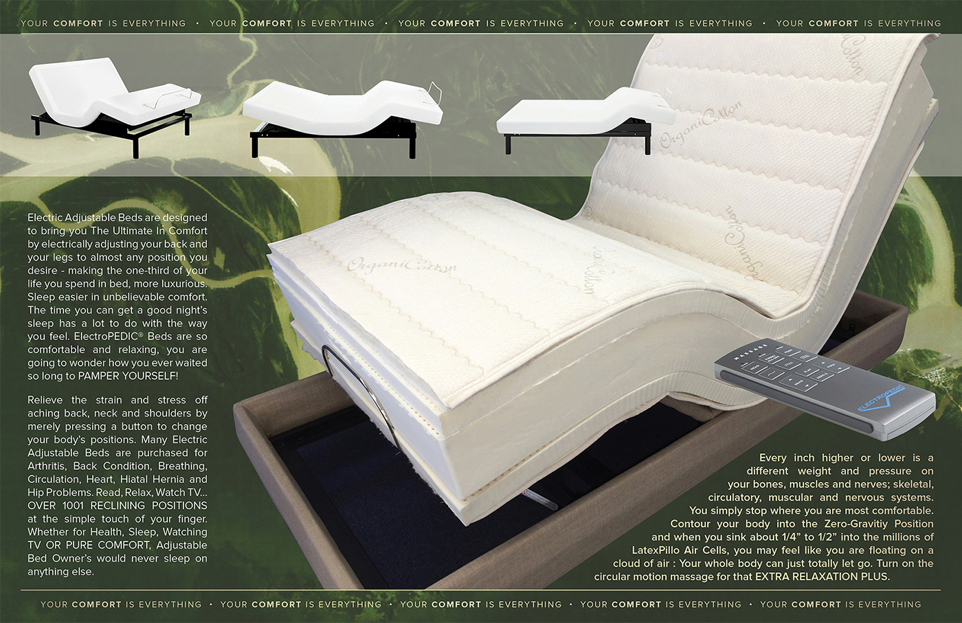 Adjustable Bed Latex Mattress Natural Organic TALALAY Foam