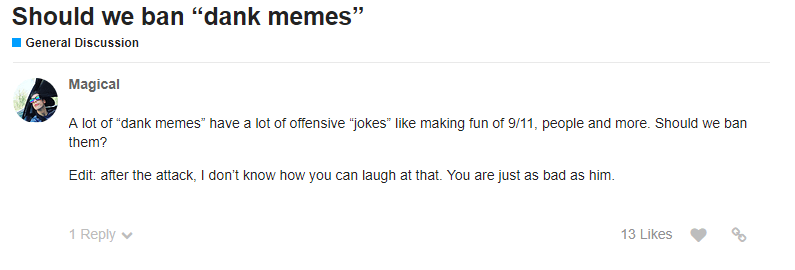 Comments opposing memes
