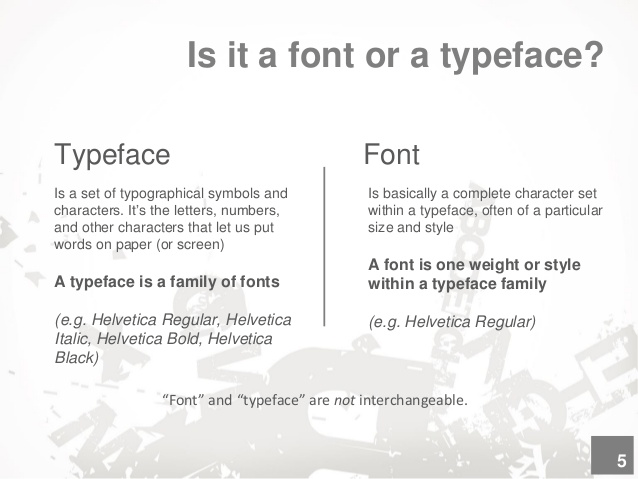 Difference between Typface and font