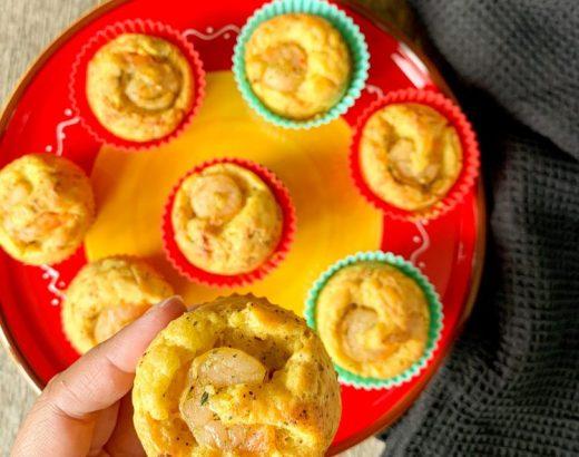 Hartige cupcakes met prei, kerrie en garnalen