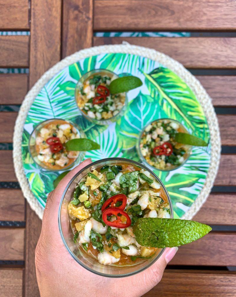 Romig pittige kokos-abrikoos-garnalen panna cotta