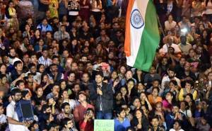 JNU Students' Union President Kanhaiya made a fiery speech after bail