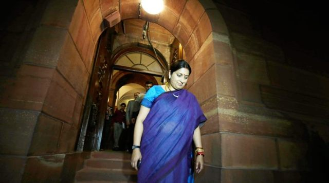 HRD Minister Smrity Irani  outside  the Parliament on 2th feb 2016. Express photo by Renuka PURI.