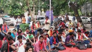 DU students protest to get Right to Accommodation before DU Students' Union Election