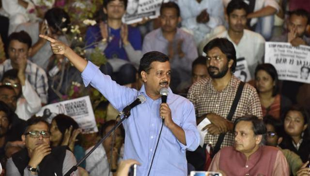 Arvind Kejriwal addresses students at JNU campus on Thursday.