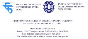 FTII Pune in association with IIMC announces 20 days Foundation Course in Acting at New Delhi