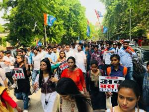 NSUI holds rally demanding steps for safety of women students in DU