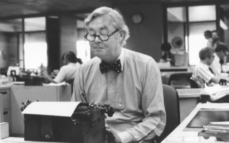 Daniel Patrick Moynihan at his typewriter - photo from the American Academy of Political and Social Science