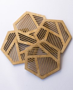 Birch wood beehive coasters. Aardwolf Design.