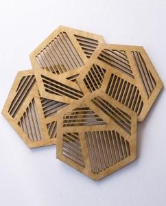 Birch wood beehive coasters. Aardwolf Design.