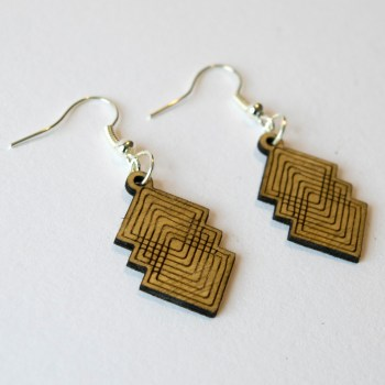 Pendant Earring Plywood - Rhombus drop design laser cut - Aardwolf Design