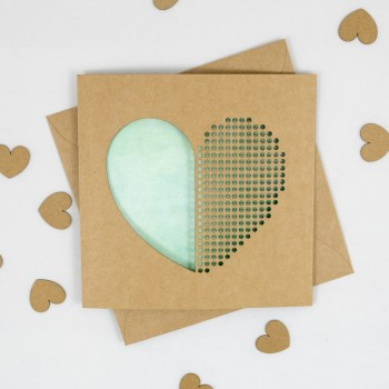 Dot Dot Heart Green Watercolour Handmade Valentines Day Card - Aardwolf Design Copyright
