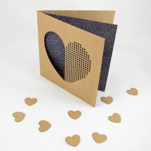Dot Dot Heart Starry Night Black Handmade Valentines Day Card – Aardwolf Design Copyright