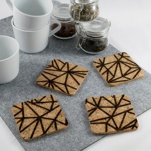 Triangle Mesh Coaster Design – Aardwolf Design – Cork Coasters Set of 4
