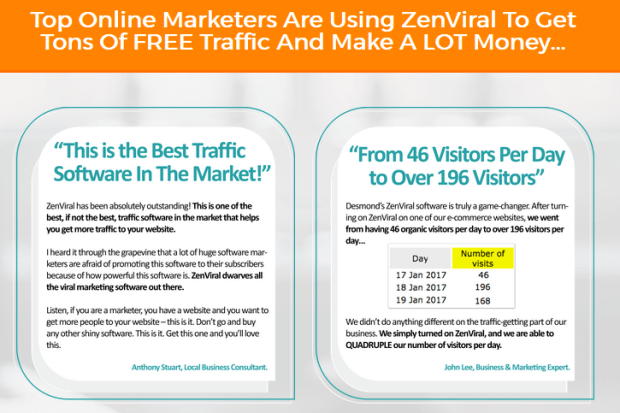 ZenViral Traffic Lifetime Software Testimonials