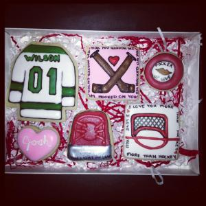 Hockey Cookies in a gift box for Valentines day