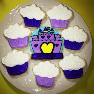 Purple Princess Castle Cookies and Cupcake Cookies