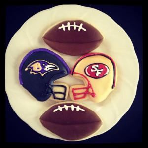 Baltimore Ravens and San Francisco 49ers cookies for the Super Bowl
