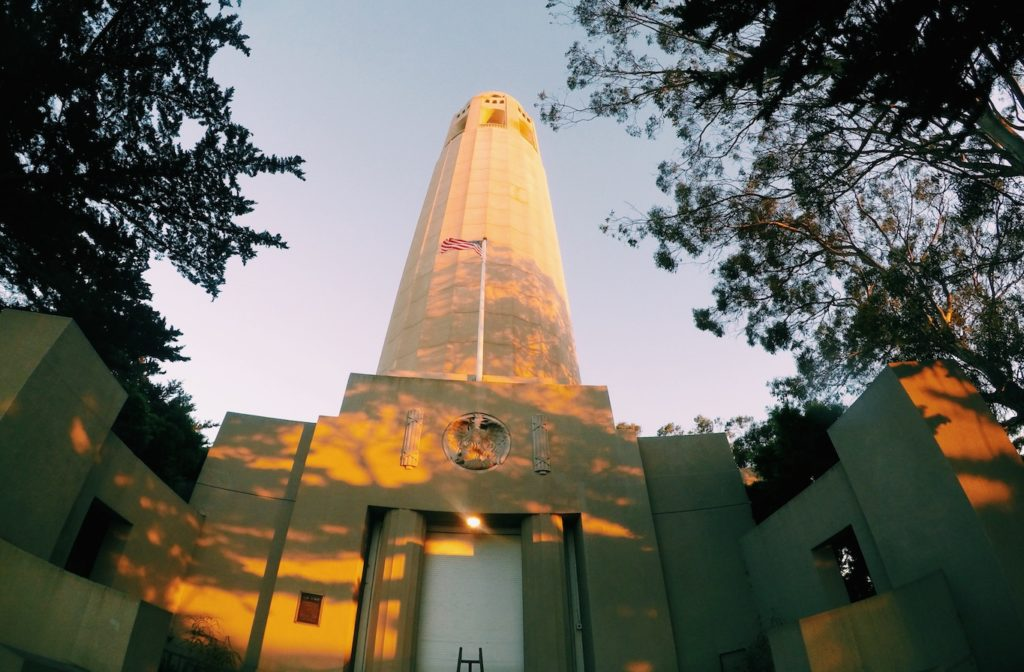 Coit tower at sunset after we climbed Greenwich stairs