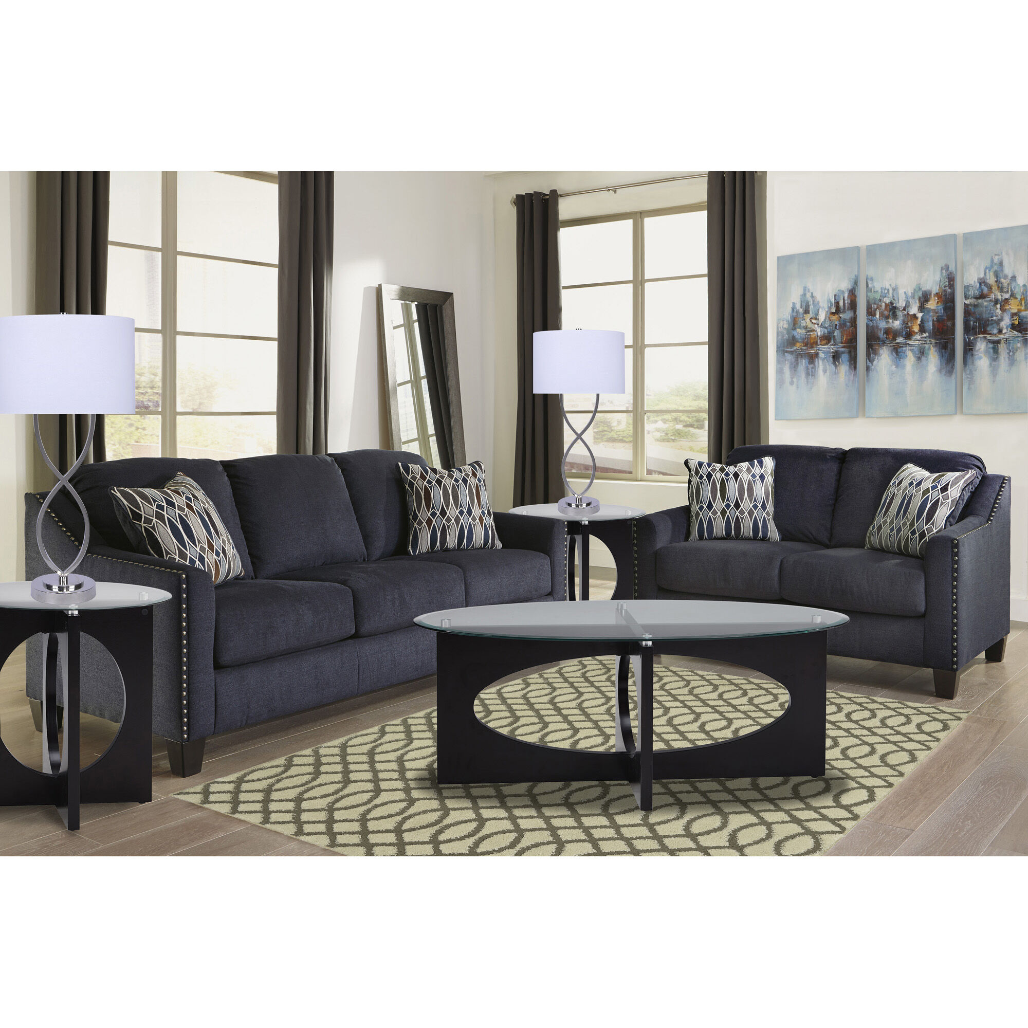 Rent to Own Living Room Furniture   Aaron s 7 Piece Creeal Heights Living Room Collection