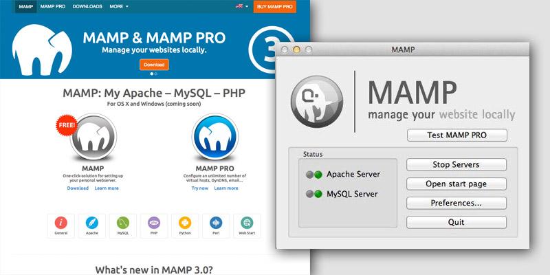 MAMP homepage and server window
