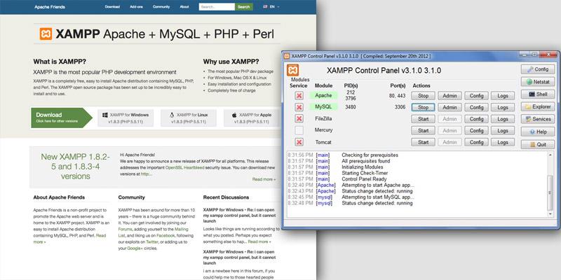 XAMPP homepage and server window