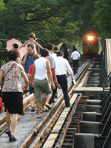 Train Crossing the Bridge on the River Kwai