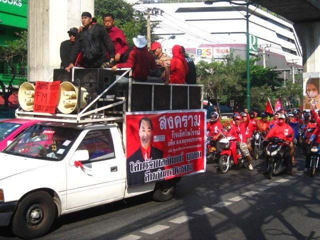 Red Shirt Protestors on Bangkok's Sukhumvit Road