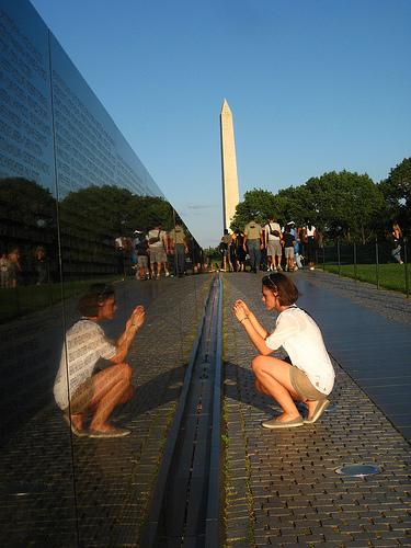 Girl at the Vietnam Veterans Memorial