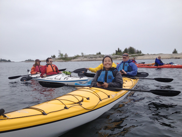 The whole lot of us bloggers  on our kayaks (smile Jill!). Photo courtesy of Explorers' Edge.