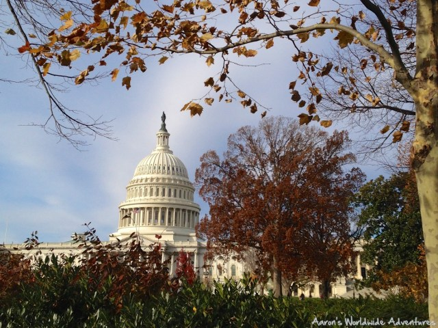 The U.S. Capitol building in Washington, D.C. on a crisp fall day.