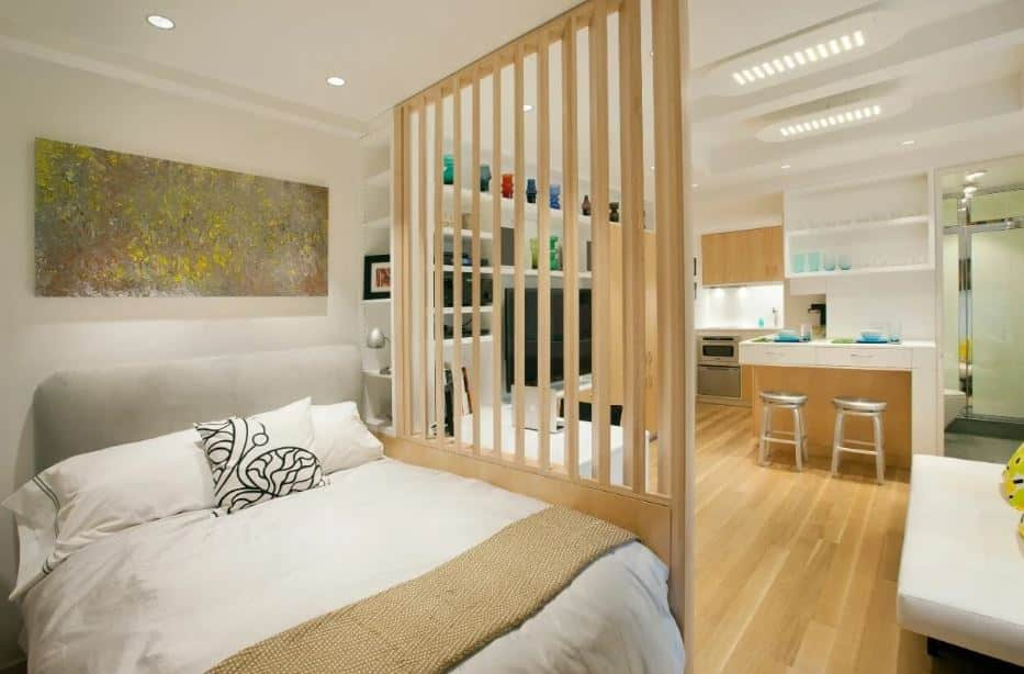 Space with wooden partition - Layout ideas for Studio apartments