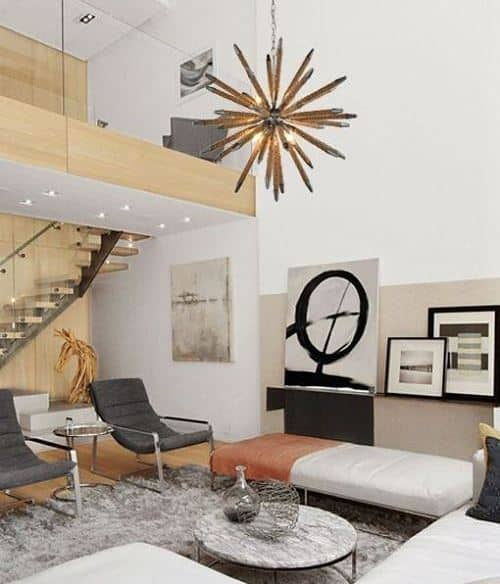 Room with two gray chairs and a gray rug - Modern and contemporary houses.  See the difference