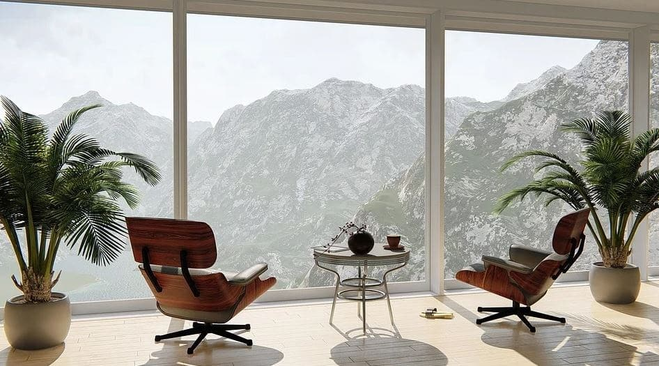Room with two chairs facing the mountain2 - Modern and contemporary houses.  See the difference