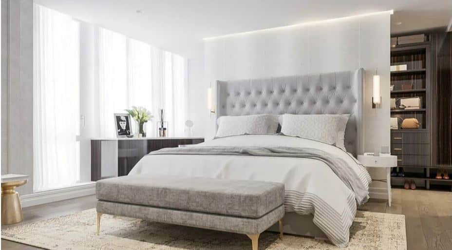 white double bedroom with gray 1 - Layout ideas for Studio apartments