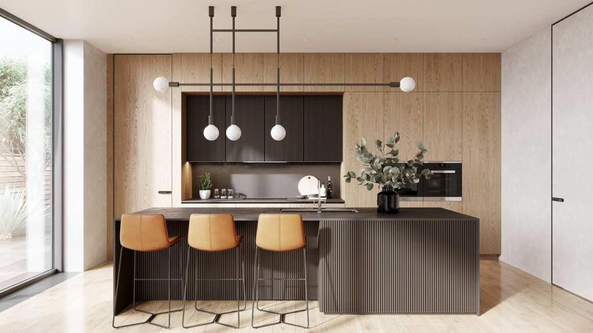 Modern kitchen with black counter - 5 marketing tips for an Interior Designer