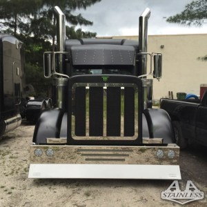 """Bumper 20"""" with 2 LED 2 Line & 4 4"""" LED with 3 Slots . Peterbilt 379 - CUSTOM  Part #: 010102.1.1.912-51  $2,495"""