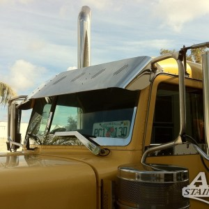Visor Standard Straight SS, Peterbilt 370 Series & 380 Series with 8 lights 3 lines Angle  Part#: 010101.1.1.25327  $595