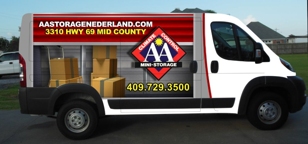 AA Climate Control helping you move. Complimentary use of Van to move you into our storage units