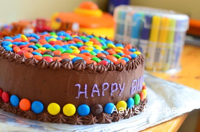 5619ef70de15 M   M (Gems) Cake with Chocolate Buttercream - Aayis Recipes