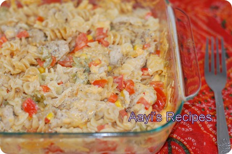 baked pasta with chicken-veg