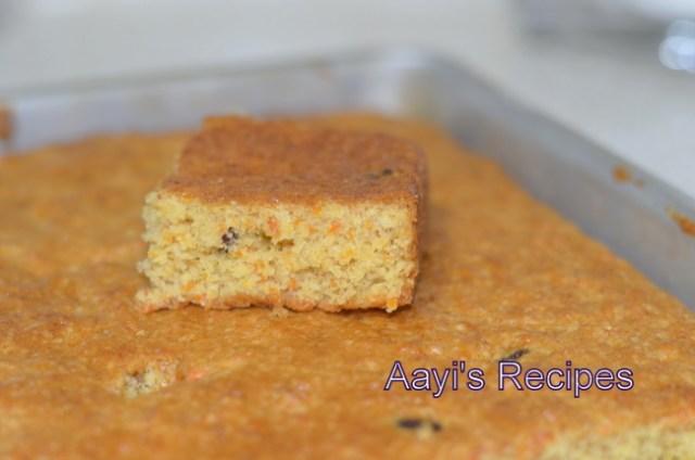 eggless banana cake with carrots and raisins