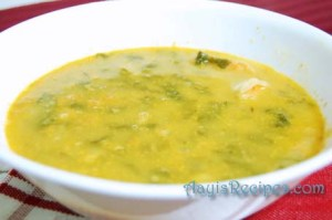 Prawns and Greens curry (Vali bhajji sungta ambat)