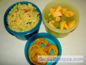 Lunchbox: Prawn pulav, fruits and chakli