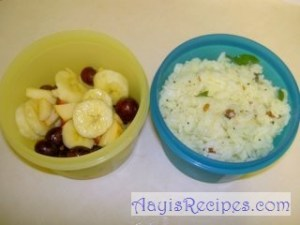 Lunchbox: Lemon rice and fruits