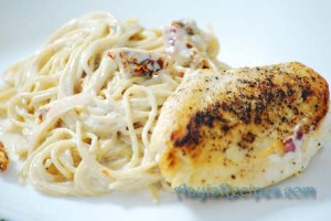 Angel hair pasta in lemon cream sauce with chicken