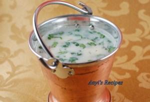 Buttermilk Gravy/Soup (Taka Kadi) with buttermilk chillies